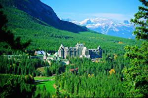 Фотография Пейзаж Канада Парки Горы Леса Банф Отель Springs Hotel Природа