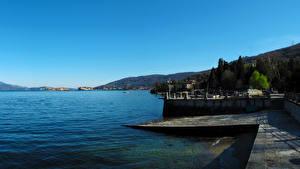 Обои Италия Озеро Дома Baveno Города фото