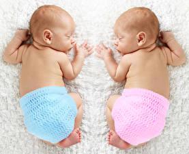 Фотография Грудной ребёнок Двое Сон Спина Дети