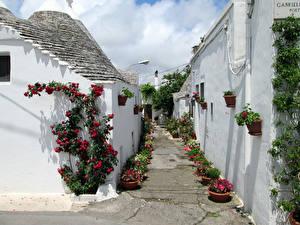 Обои Италия Дома Улица Alberobello Города фото