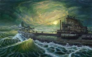 Обои Подводные лодки Рисованные U-Boot