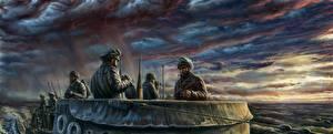 Фотографии Подводные лодки Солдаты Рисованные