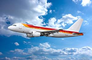 Обои Самолеты Небо Пассажирские Самолеты Облака Авиация фото
