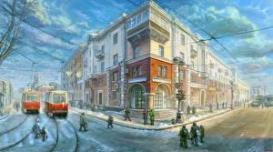 Фотографии Рисованные Здания Улица Irkutsk город