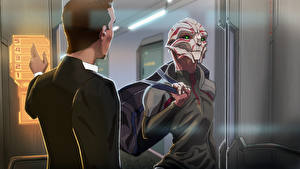 Картинка Mass Effect Инопланетяне Fan ART turian bioware Фэнтези