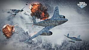 Обои Истребители Самолеты Взрывы World of Warplanes Дым Полет Игры Армия Игры Авиация фото