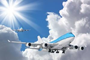 Обои Самолеты Пассажирские Самолеты Полет Облака Boeing 747-400 Авиация Авиация фото