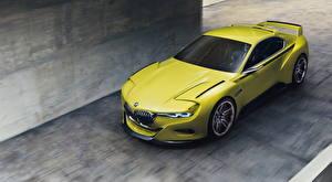 Картинки BMW Желто зеленый 3.0 CSL Hommage Автомобили