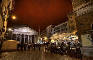 Обои Италия Храмы Рим Улица Pantheon Города фото