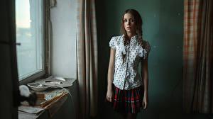 Фото Школьницы Косички Шатенка Kseniya Kokoreva George Chernyad'ev молодые женщины