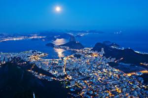 Фотографии Бразилия Здания Ночные Луна Сверху Рио-де-Жанейро