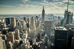 Фото Штаты Небоскребы Нью-Йорк Мегаполис Города