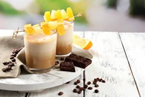 Картинки Напитки Шоколад Фрукты Кофе Капучино Стакана Две Зерна Продукты питания