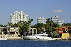 Обои США Дома Яхта Майами Пальмы Города фото