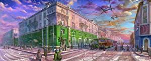 Картинка Рисованные Здания Россия Улица Irkutsk Города