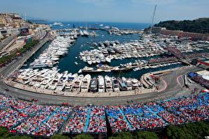Фотография Монако Пристань Дороги Яхта Монте-Карло Города