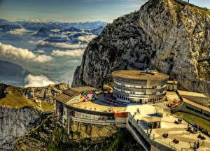 Фотография Швейцария Горы Гостиница Облака HDRI Mount Pilatus Hotel Природа