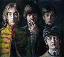 Фото The Beatles John Lennon Рисованные Lennon, McCartney, Harrison and Starr Знаменитости