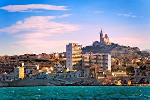 Картинки Франция Здания Море Марсель Дворца Города