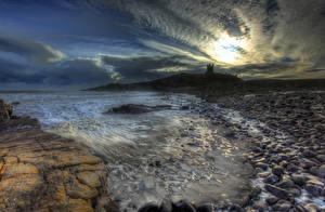 Обои Англия Побережье Пейзаж Замки Камни Небо Ночь HDR Dunstanburgh Castle Природа фото