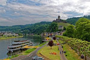 Картинка Германия Дома Реки Замки Корабли Дороги Кохем Города