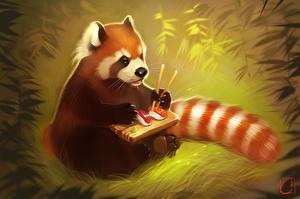 Фото Малая панда Суши Рисованные животное