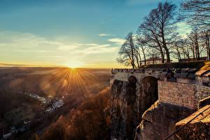 Фотографии Германия Рассветы и закаты Крепость Небо Деревья Königstein Fortress Города