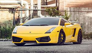 Картинки Lamborghini Желтый Спереди Gallardo Автомобили