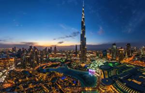 Обои Дубай Объединённые Арабские Эмираты Небо Небоскребы Burj Khalifa Города