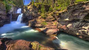Фотографии Штаты Парки Водопады Скала St Mary Falls Glacier National Park Montana Природа