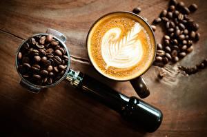 Обои Кофе Капучино Зерна Чашка Еда фото