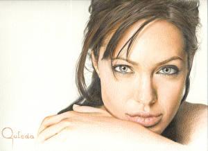Фотография Angelina Jolie Лицо Взгляд Знаменитости Девушки