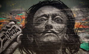 Фотографии Граффити Живопись Salvador Dali Стена Знаменитости