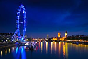 Картинки Англия Речка Лондон Колесом обозрения Ночные