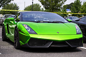 Обои Lamborghini Салатовая Спереди Роскошная Gallardo Superleggera Green Crome Автомобили