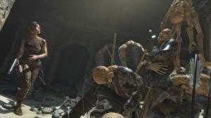Картинки Rise of the Tomb Raider Лара Крофт Скелет Игры Девушки 3D_Графика