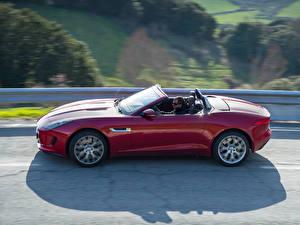 Фотография Ягуар Кабриолет Сбоку Красных F-Type S машины