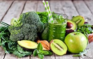 Фото Киви Овощи Яблоки Авокадо Брокколи Стакана Продукты питания