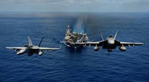 Картинки США Самолеты Корабли Авианосец Истребители Navy two fighters aircraft carrier Армия Авиация