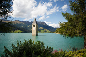 Обои Озеро Италия Храмы Resia Природа фото