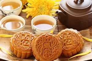 Картинки Печенье Чай Хризантемы Продукты питания