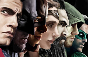 Фото Бэтмен герой Супермен герой Чудо-женщина герой Генри Кавилл Бен Аффлек Райан Рейнольдс Лицо aquaman flash green arrow green lantern justice league jason momoa Фантастика Знаменитости