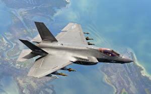 Картинка Истребители Самолеты Lockheed Martin F-35 Lightning II Авиация