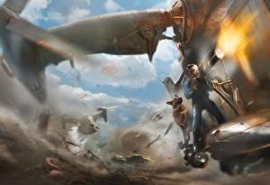 Фото Fallout Собаки Стрельба Овчарка Bethesda Game Studios Bethesda Softworks Minigun The Art of Fallout 4 Игры Фэнтези