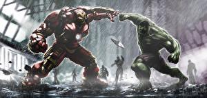 Картинки Мстители: Эра Альтрона Халк герой Железный человек герой hulkbuster tony stark bruce banner Кино Фэнтези