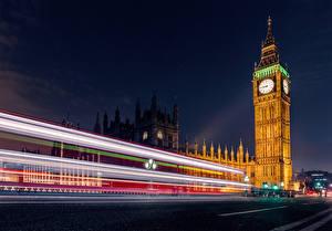 Фото Англия Лондон Биг-Бен В ночи Движение