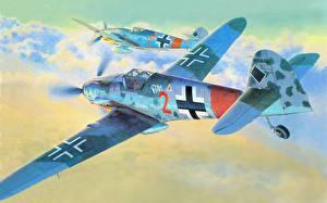 Фото Живопись Самолеты Рисованные Немецкий bf 109 german aircraft german fighter ww2 Авиация
