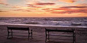 Картинки Рассветы и закаты Море Скамейка Горизонта Природа
