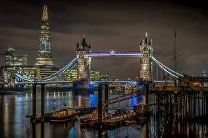 Картинка Великобритания Англия Мост Реки Лондоне В ночи
