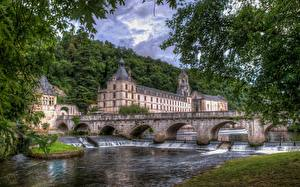 Фотографии Франция Река Мосты HDRI Brantome, Dordogne, Dordogne River Города